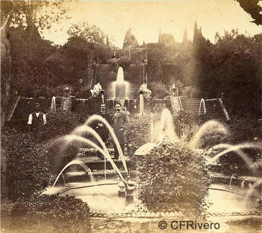 Autor desconocido. [El Retiro, juegos de agua, Churriana (Málaga)]. Ca. 1865. Par de una estereoscopia en albúmina. CFRivero