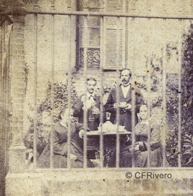 Autor desconocido. [El Retiro, Churriana, Mª Dolores marquesa de la Paniega, Domingo de Orueta Aguirre, José Freüller y su esposa Carmen Sánchez de Quirós(Málaga)]. Ca. 1865. Estereoscopia en albúmina (CFRivero)