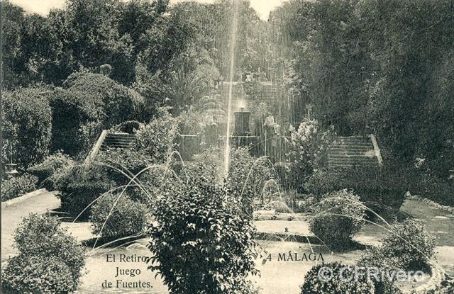 Lacoste ed. 4 Málaga.- El Retiro - juego de fuentes. Ca. 1908. Tarjeta postal. (CFRivero)