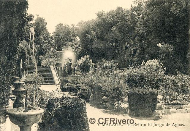 Lacoste ed. 7 Málaga.- El Retiro - juego de aguas. Ca. 1908. Tarjeta postal. (CFRivero)