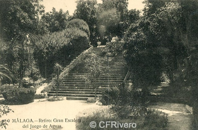Lacoste ed. 9 Málaga.- El Retiro - Gran escalera del juego de aguas. Ca. 1908. Tarjeta postal. (CFRivero)