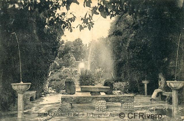 Lacoste ed. 10 Málaga.- El Retiro - El juego de aguas. Ca. 1910. Tarjeta postal. (CFRivero)