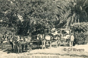 Lacoste ed. 14 Málaga.- El Retiro - Jardín de la entrada. Ca. 1910. Tarjeta postal. (CFRivero)