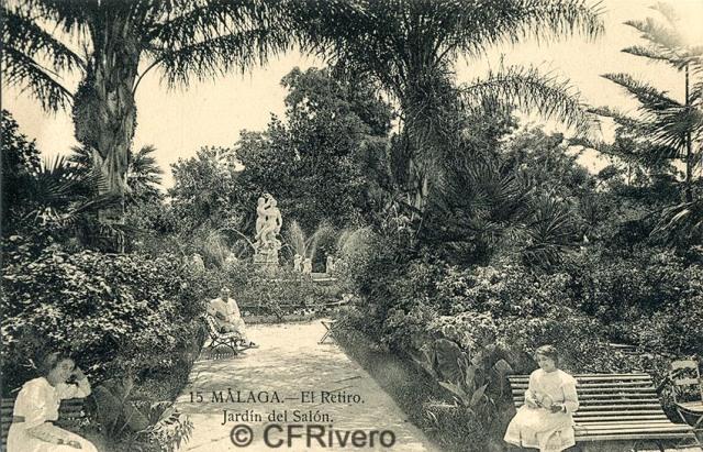 Lacoste ed. 15 Málaga.- El Retiro - Jardín del Salón. Ca. 1910. Tarjeta postal. (CFRivero)