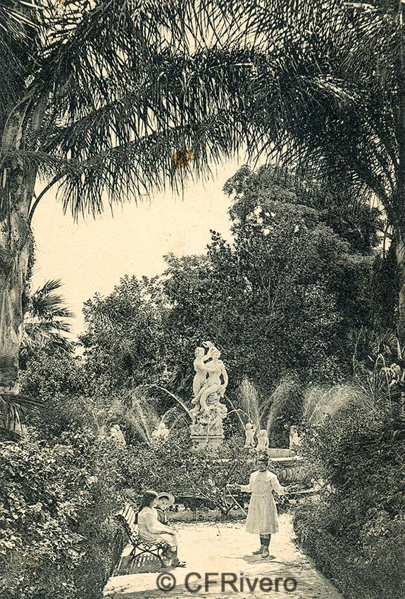 Lacoste ed. 16 Málaga.- El Retiro - Fuente de la sirena. Ca. 1910. Tarjeta postal. (CFRivero)