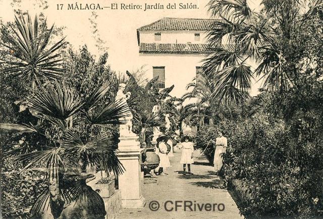 Lacoste ed. 17 Málaga.- El Retiro - Jardín del Salón. Ca. 1910. Tarjeta postal. (CFRivero)