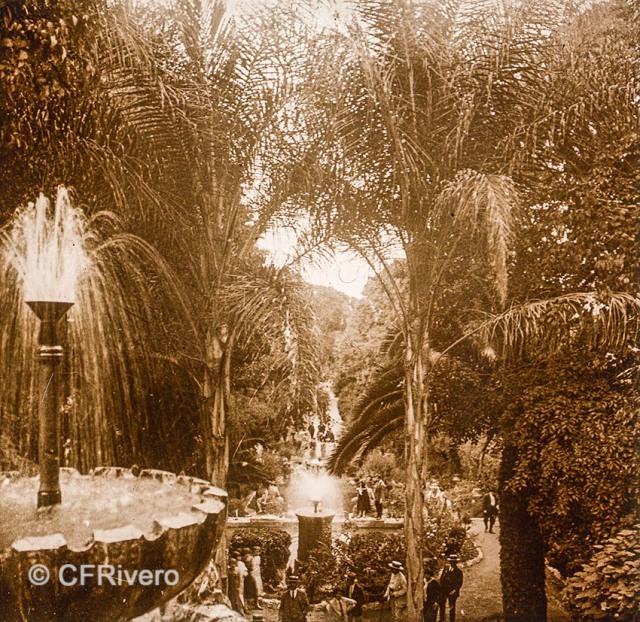 Jacinto Ruiz del Portal. Retiro, Juego de aguas. [Churriana, Málaga]. 1925. Par de una estereoscopia positiva en vidrio 45x110 mm. (CFRivero)
