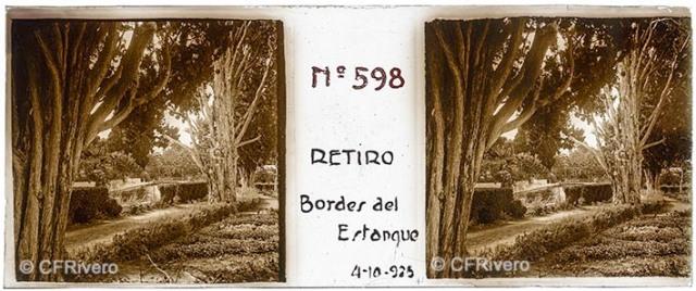 Jacinto Ruiz del Portal. Retiro, bordes del Estanque [Churriana, Málaga]. 1925. Estereoscopia positiva en vidrio 45x110 mm. (CFRivero)