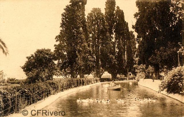 """Editor desconocido. Málaga.-""""El Retiro"""". Estanque Grande. Ca. 1920. Tarjeta postal. (CFRivero)"""