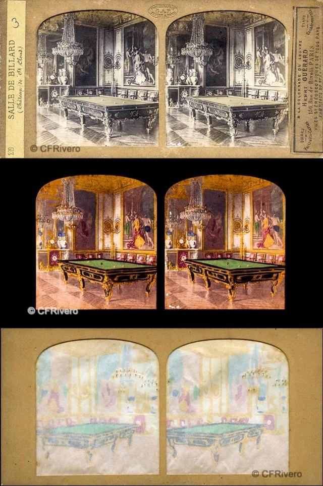 Photographie G.A.F. [Florent Grau]. Paris   219 Salle de Billard (Château de St. Cloud).  Estereoscopia en albúmina tissue. CFRivero