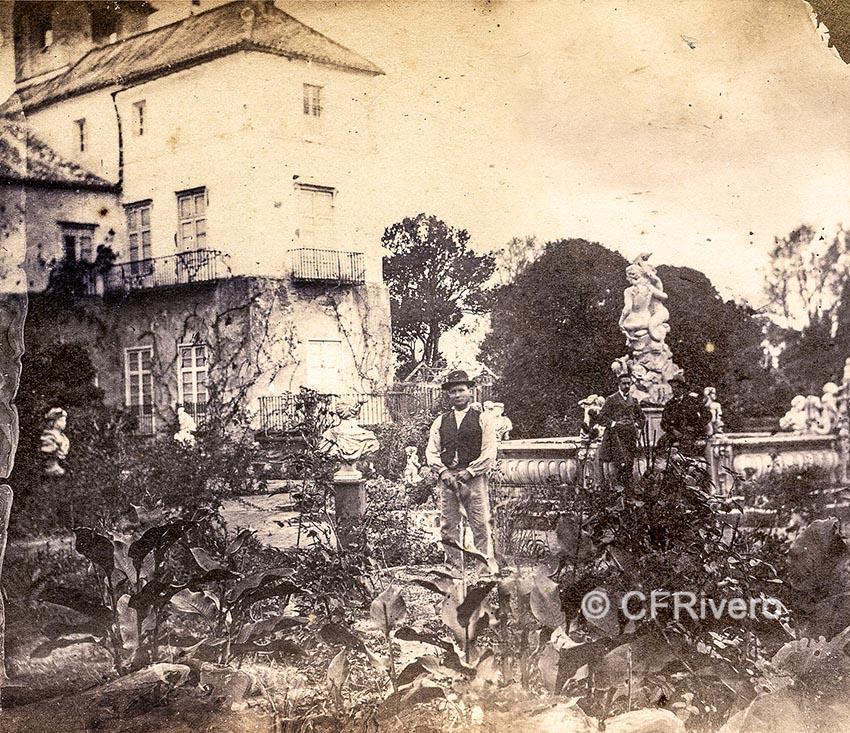 Autor desconocido. [El Retiro, casa palacio y fuente de la sirena, Churriana (Málaga)]. Ca. 1865. Par de una estereoscopia en albúmina. (CFRivero)