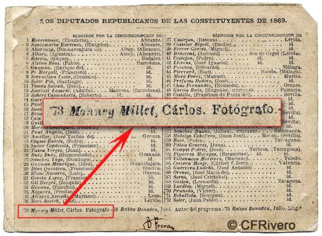 Charles Monney. Dorso de la foto-mosaico de los Diputados republicanos de 1869, en el que constan todos sus nombres. Ejemplar de la CFRivero