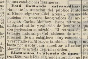 Nota de El Correo vascongado (Bilbao). 15 de Junio de 1873, anunciando la exposición de fotografías ampliadas debidas a Carlos Monney Millet