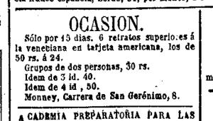 Anuncio de C. Monney en El Imparcial (Madrid) 9 y 14 de julio de 1872