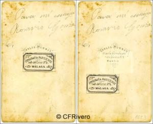 """Charles Monney. dorso de una Carte de visite de su estudio """"fotografía Parisiense"""" en Málaga y en Murcia. Ca. 1865 (CFRivero)"""