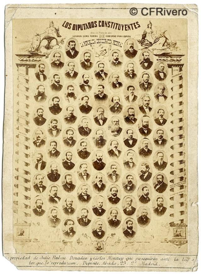 Carlos Monney Millet. Los Diputados republicanos de las Constituyentes de 1869. Madrid. Montaje fotográfico en albúmina sobre papel. (CFRivero)