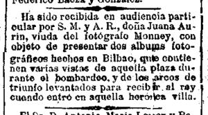 Nota de La Correspondencia de España (Madrid) del 24-5-1876 informando de la recepción por S. Majestad de Juana Aurín