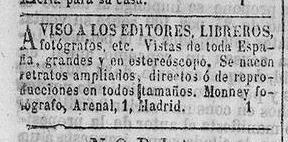 Anuncio del fotógrafo Charles Monney en La Correspondencia de España (Madrid) el  9-4-1871