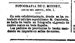 Anuncios del fotógrafo Charles Monney en La Discusión (Madrid) 24/5/1871 a 7/2/1872