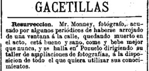Noticia sobre Charles Monney aparecida en La Discusión (Madrid). 31 de marzo de 1869