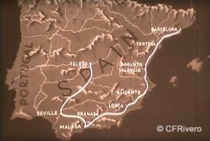"""Fotograma del cortometraje """"From Granada to Toledo"""" indicando el recorrido. 1929. Fitzpatrick Pictures Inc."""
