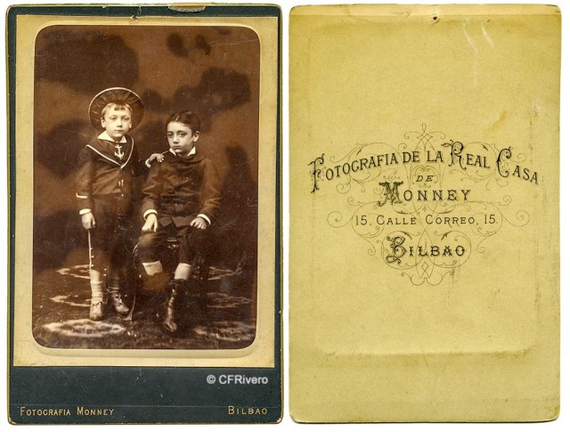 Charles Monney Millet. Retrato de dos hermanos y reverso. Cabinet en albúmina. Bilbao, ca. 1875. (CFRivero)