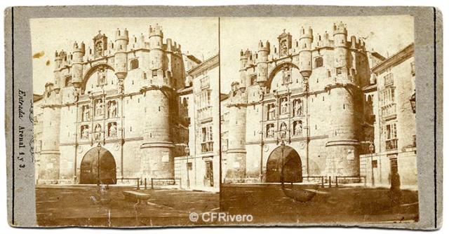Charles Monney Millet. Burgos, Puerta de Santa María. Ca. 1865. Estereoscopia en albúmina sobre papel. (CFRivero)