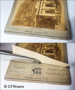 Detalle de una estereoscopia de C. Monney para mostrar como bajo la albúmina se esconde el nombre y logotipo del fotógrafo