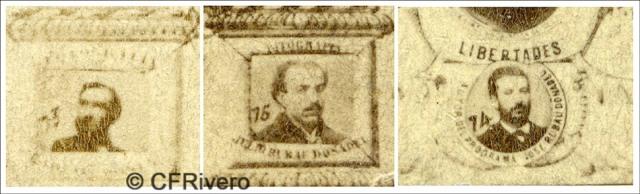 Retratos de Carlos Monney y los dos hermanos Rubau, fragmento del foto-mosaico de los diputados constituyentes que votaron la república en 1869 (CFRivero)