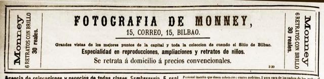 Anuncio de Fotografía de Monney (su viuda) en El Noticiero Bilbaino de 18 de abril de 1885