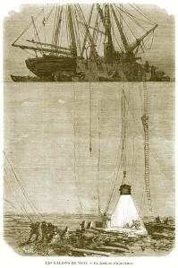 Henri Durand-Brager. Les Galions de Vigo, explorat on d'une éprave. Grabado publicado en L'Ilustration el 2 de julio de 1870.