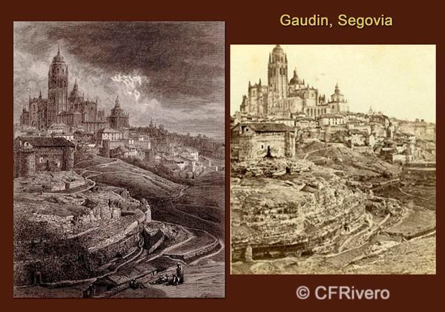 """Segovia """"La Catedral"""" Grabado de Doré y fotografía de Gaudín. 1857"""