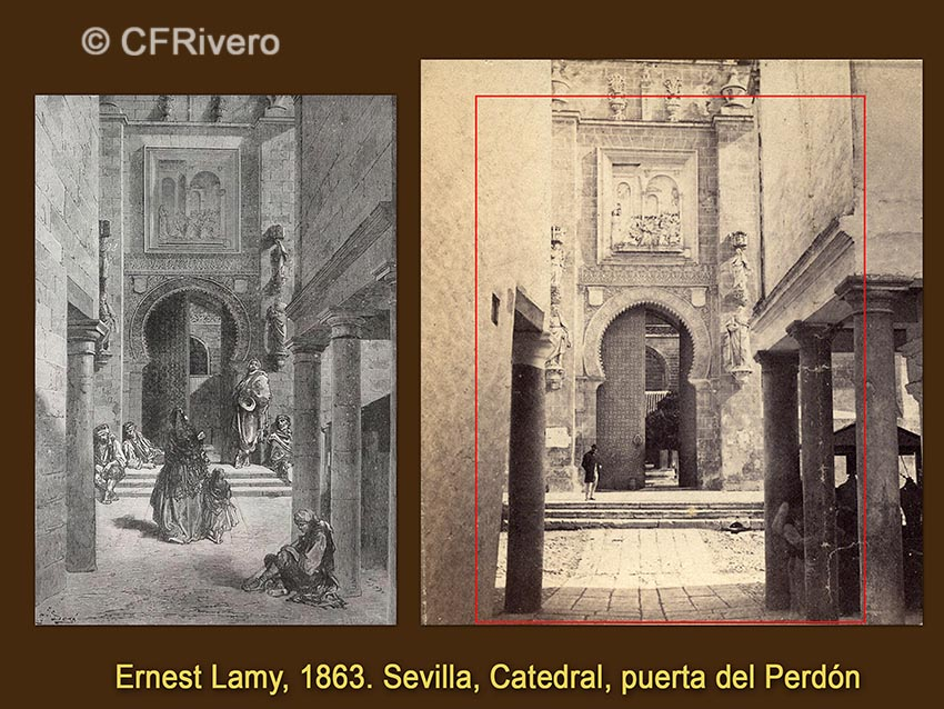 Gustave Doré. Sevilla, Catedral, Puerta del Perdón / Ernest Lamy. Id. 1863. Albúmina