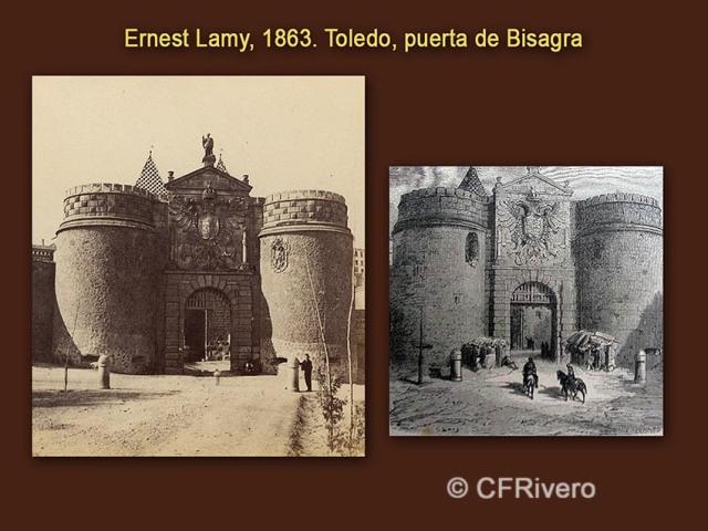 Gustave Doré. Toledo, Puerta de Bisagra. Grabado. / Ernest Lamy, id. Estereoscopia en albúmina. 1863