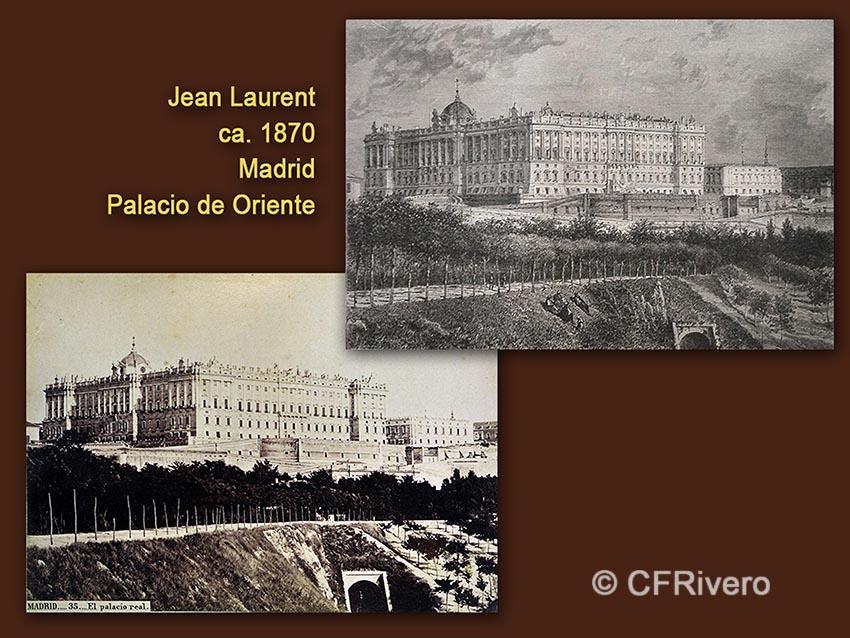 Jean Laurent. Madrid, Palacio de Oriente. 1879, albúmina / Gustave Doré, id. Grabado.