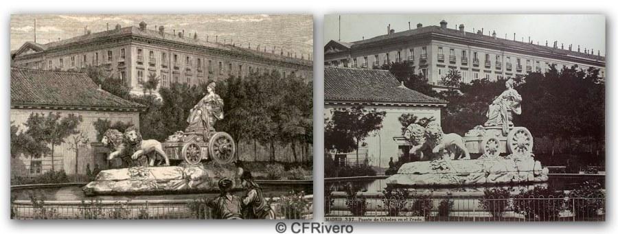 Gustave Doré. Madrid, Fuente de la Cibeles. Grabado. / Jean Laurent. Madrid, Fuente de la Cibeles. Ca. 1870. Albúmina sobre papel. (CFRivero)