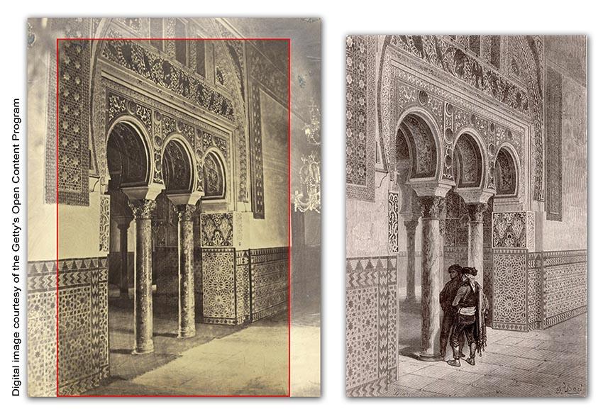 Autor desconocido, Mauzaisse ?. Salón de Embajadores en el Alcázar de Sevilla. Ca. 1865. Albúmina / Gustave Doré. Grabado. 1874