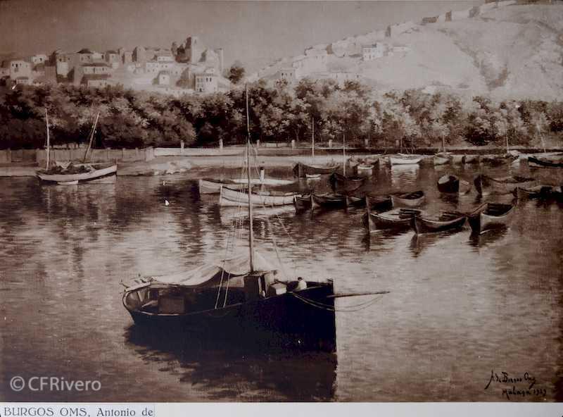 Rafael Murillo Rincón del puerto, óleo de Antonio de Burgos Oms. Málaga 1931. Papel al carbón. (CFRivero)