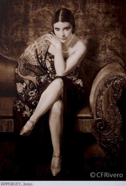 Rafael Murillo Carreras. El Mantón, óleo de Jorge Apperley. Málaga 1931. Papel al carbón. (CFRivero)
