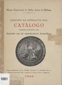 """Portada de la """"Adicion al extracto del catalogo del Museo Provincial de Bellas Artes de Málaga de 1944."""