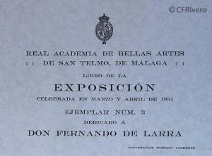 Créditos del Catálogo de la Exposición de Bellas Artes de Málaga de 1931