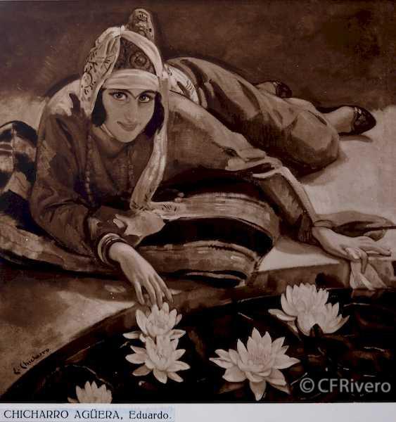 Rafael Murillo Carreras. [Retrato oriental], óleo de Eduardo Chicharro Agüera. Málaga 1931. Papel al carbón. (CFRivero)