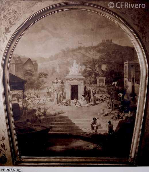 Rafael Murillo Carreras. Boceto para el techo del Teatro Cervantes, óleo de Bernardo Ferrándiz y Badenes. Málaga 1931. Papel al carbón. (CFRivero)