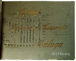 Portada del álbum fotográfico de Cementos Goliat, realizado por Rafael Murillo Carreras. Málaga [1925] (CFRivero)