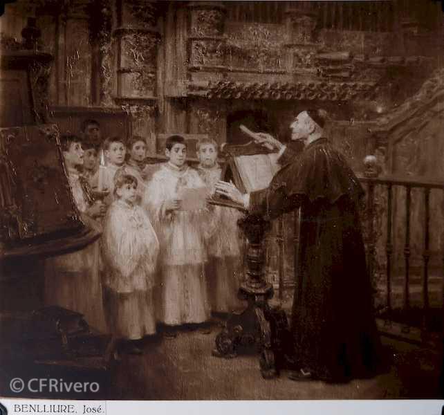 Rafael Murillo Carreras. Óleo José Benlliure Gil, [Coro en la catedral]. Málaga 1931. Papel al carbón. (CFRivero)