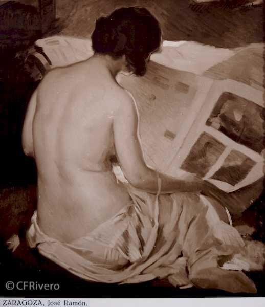 Rafael Murillo Carreras. [Desnudo], óleo de José Ramón Zaragoza. Málaga 1931. Papel al carbón. (CFRivero)