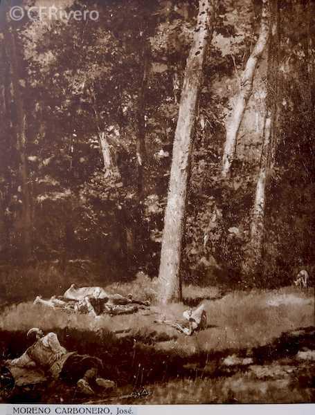 Rafael Murillo Carreras. Quijote y Sancho, óleo de José Moreno Carbonero. Málaga 1931. Papel al carbón. (CFRivero)