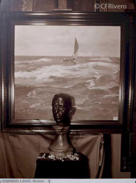 Rafael Murillo Carreras. [Marina y busto], óleo de Ricardo Verdugo Landi. Málaga 1931. Papel al carbón. (CFRivero)