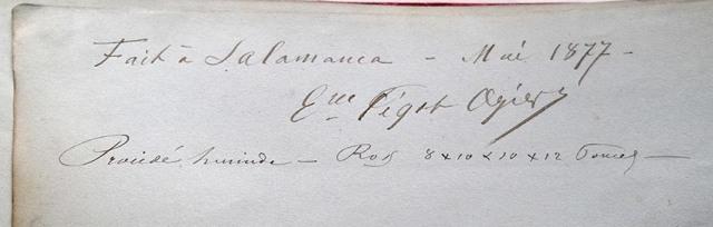 "Inscripción en la guarda del álbum ""Salamanca Illustrée"" con la firma autógrafa de Eugène Pégot-Ogier"