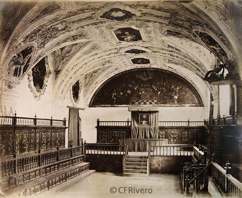 Pégot-Ogier, Eugène. Salamanca. Sala Capitular de los Jesuítas. [Aula Magna de la Universidad Pontificia]. Albúmina. 1877. (CFRivero)